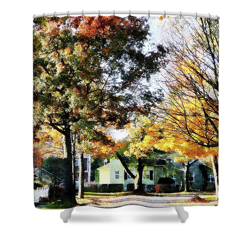 Street Shower Curtain featuring the photograph Autumn Street With Yellow House by Susan Savad