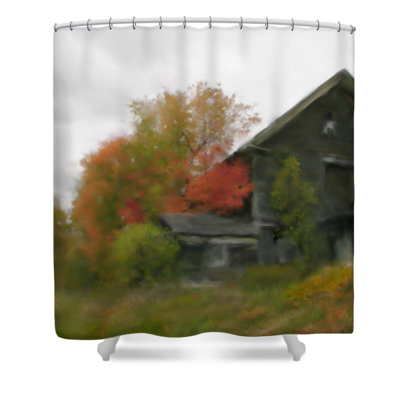 Nature Shower Curtain featuring the painting Autumn Stroll by Stephen Lucas
