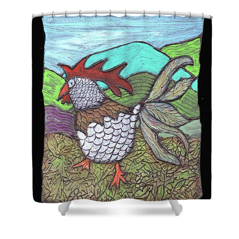 Chicken Shower Curtain featuring the painting Autumn Strut by Wayne Potrafka