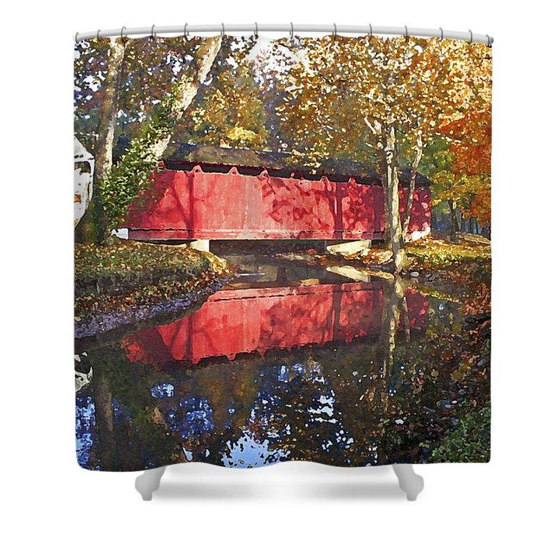 Covered Bridge Shower Curtain featuring the photograph Autumn Sunrise Bridge by Margie Wildblood