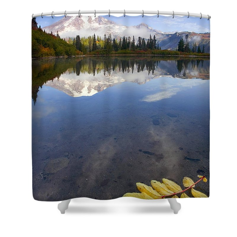 Rainier Shower Curtain featuring the photograph Autumn Suspended by Mike Dawson