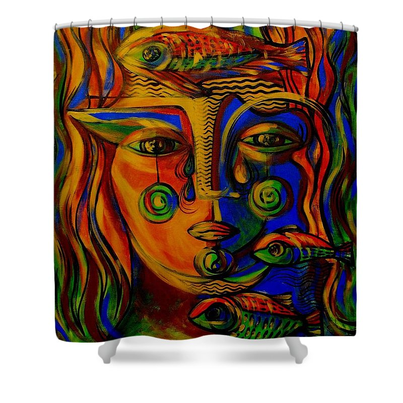 Inga Vereshchagina Shower Curtain featuring the painting Autumn Tears by Inga Vereshchagina