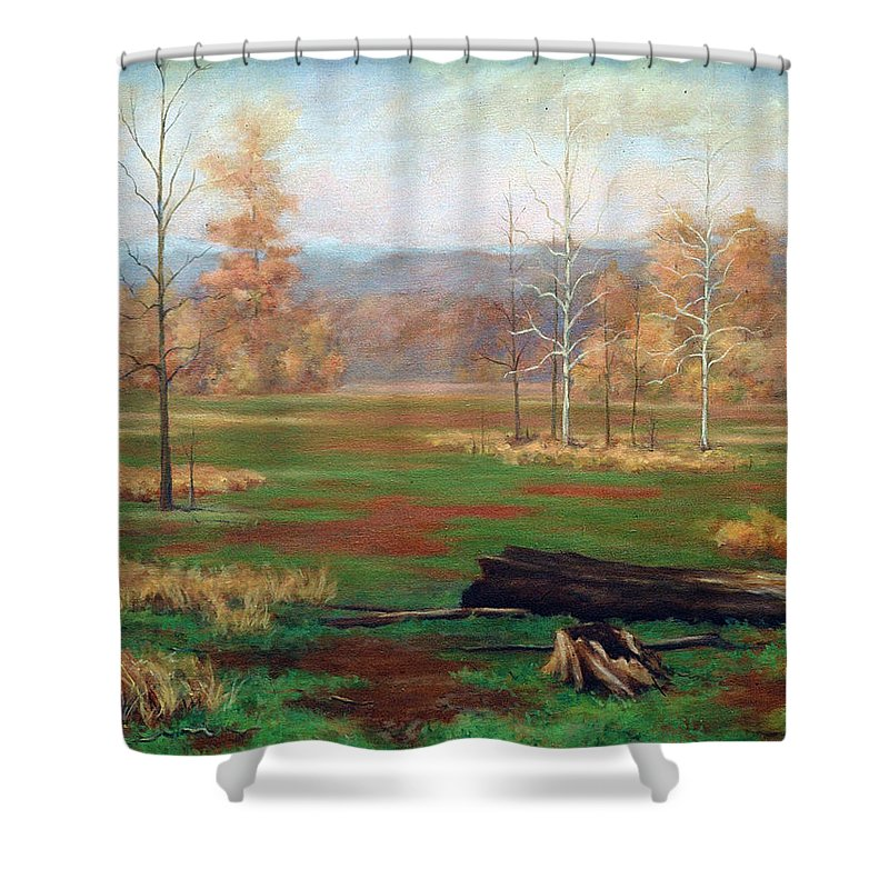 Landscape Shower Curtain featuring the painting Autumn by Todd Norris
