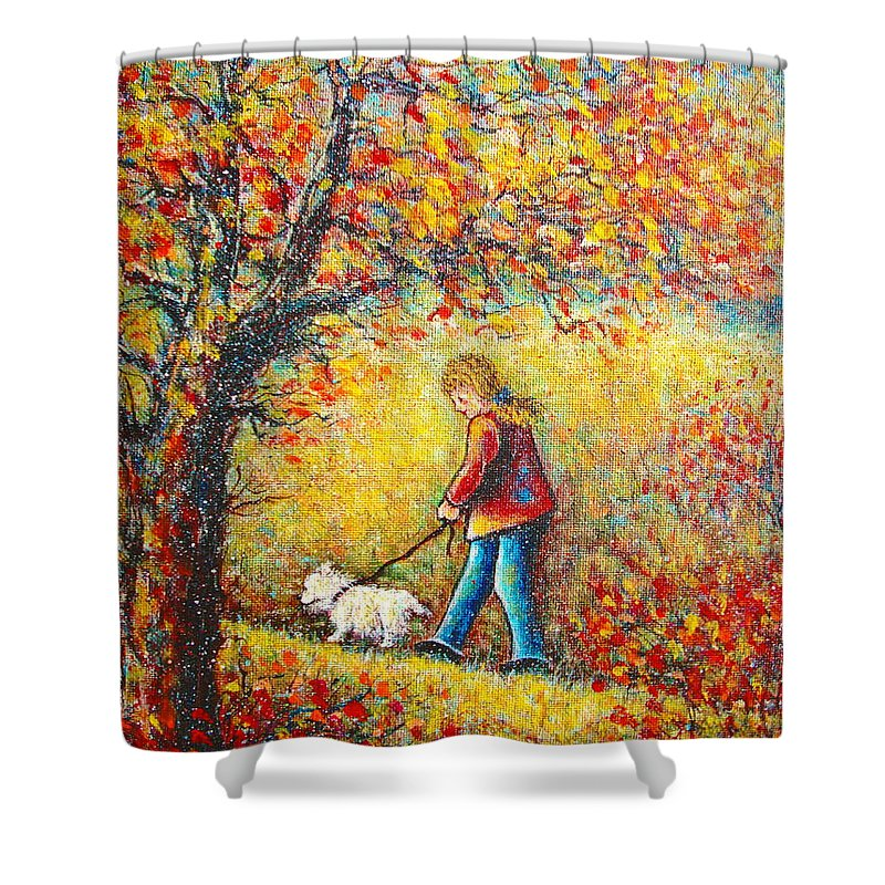 Landscape Shower Curtain featuring the painting Autumn Walk by Natalie Holland
