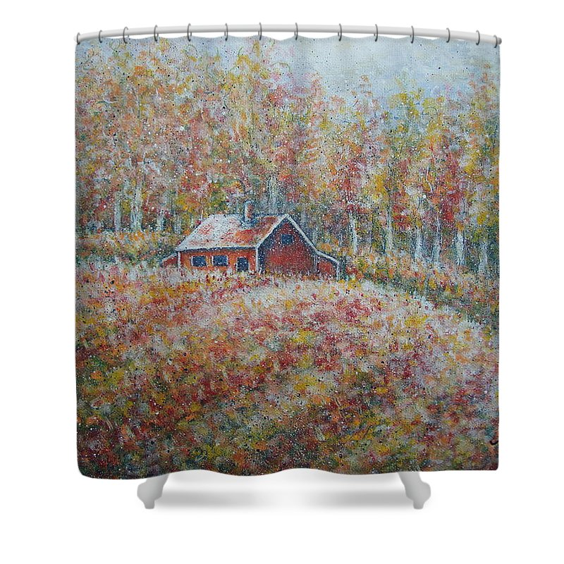 Landscape Shower Curtain featuring the painting Autumn Whisper. by Natalie Holland