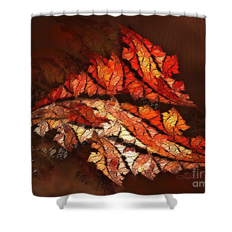 Fractal Shower Curtain featuring the digital art Autumn Wind by Jutta Maria Pusl