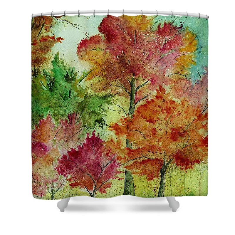Landscape Shower Curtain featuring the painting Autumn Woods by Brenda Owen