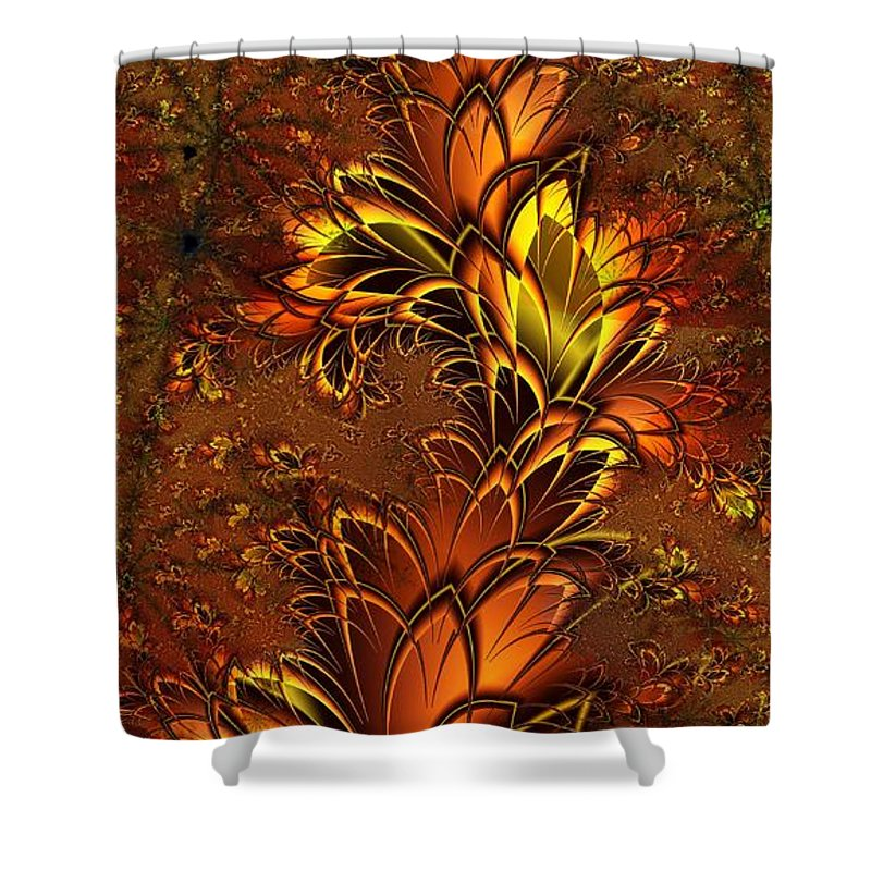 Digital Art Shower Curtain featuring the digital art Autumnal Glow by Amanda Moore