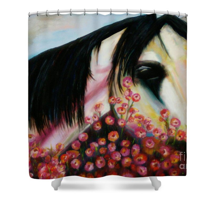 Horse Shower Curtain featuring the painting Avalon's Rose by Sidra Myers