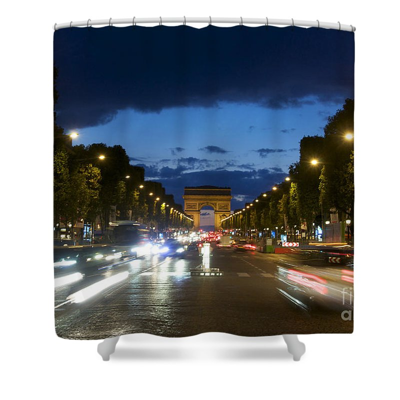 Paris Shower Curtain featuring the photograph Avenue Des Champs Elysees. Paris by Bernard Jaubert