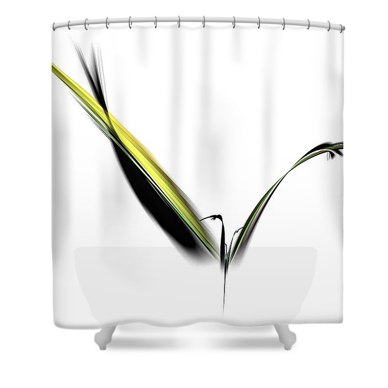 Avian Shower Curtain featuring the digital art Avian Zen - Fractal Art by NirvanaBlues
