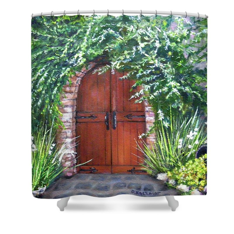 Door Curved Archway Shower Curtain featuring the painting Avignon by Olga Kaczmar
