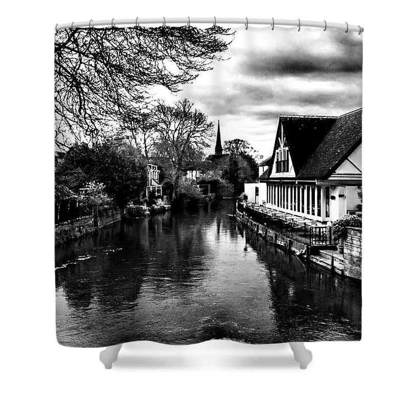 Ian Watts Shower Curtain featuring the photograph Avon Boathouse by Ian Watts