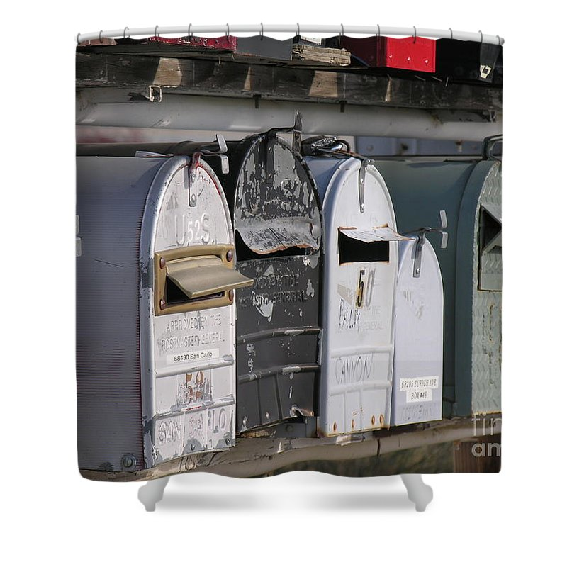 Mail Boxes Shower Curtain featuring the photograph Awaiting Mail Also by Diane Greco-Lesser