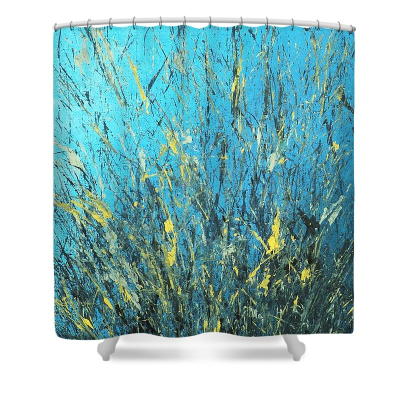 Splash Shower Curtain featuring the painting Awakening by Todd Hoover