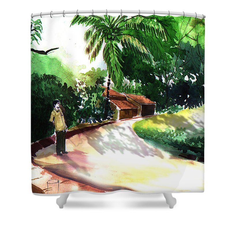 Water Color Watercolor Landscape Greenery Shower Curtain featuring the painting Awe by Anil Nene