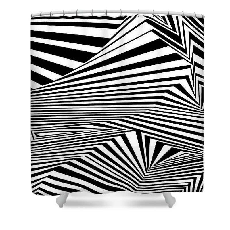 Dynamic Black And White Shower Curtain featuring the painting Awesomeness by Douglas Christian Larsen