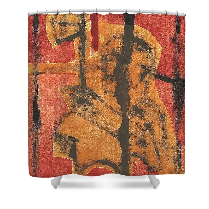 Axeman Shower Curtain featuring the relief Axeman 14 by Artist Dot
