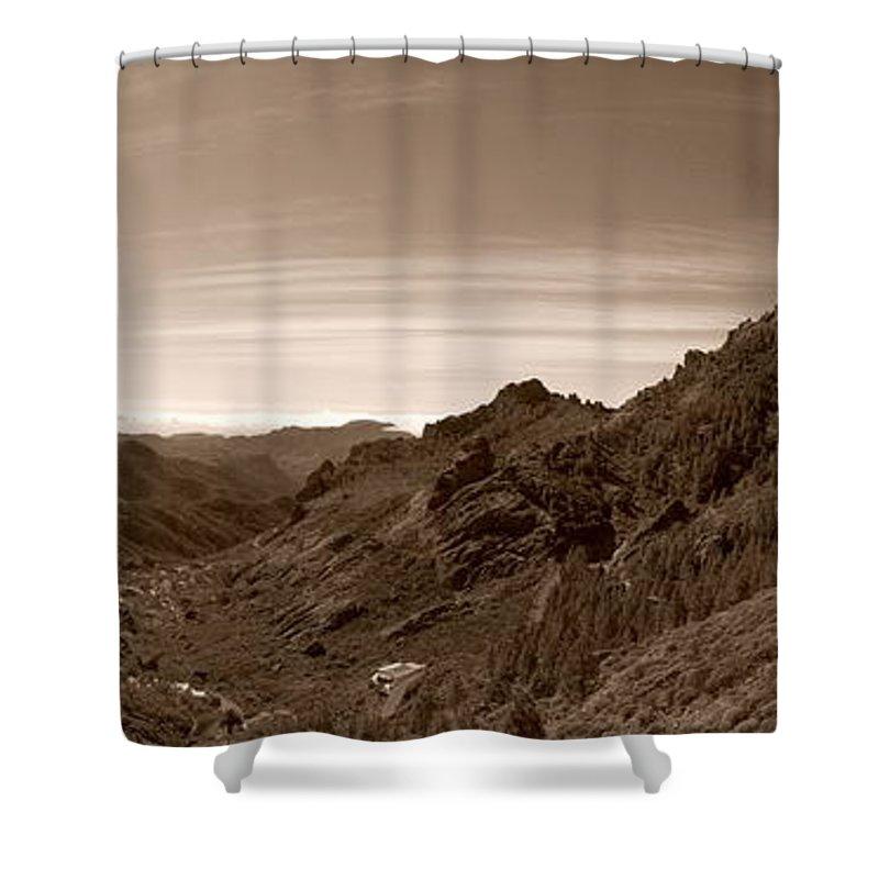 Lehtokukka Shower Curtain featuring the photograph Ayacata And Roque Nublo 2 by Jouko Lehto