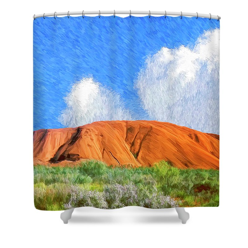 Ayers Rock Shower Curtain featuring the painting Ayers Rock by Dominic Piperata