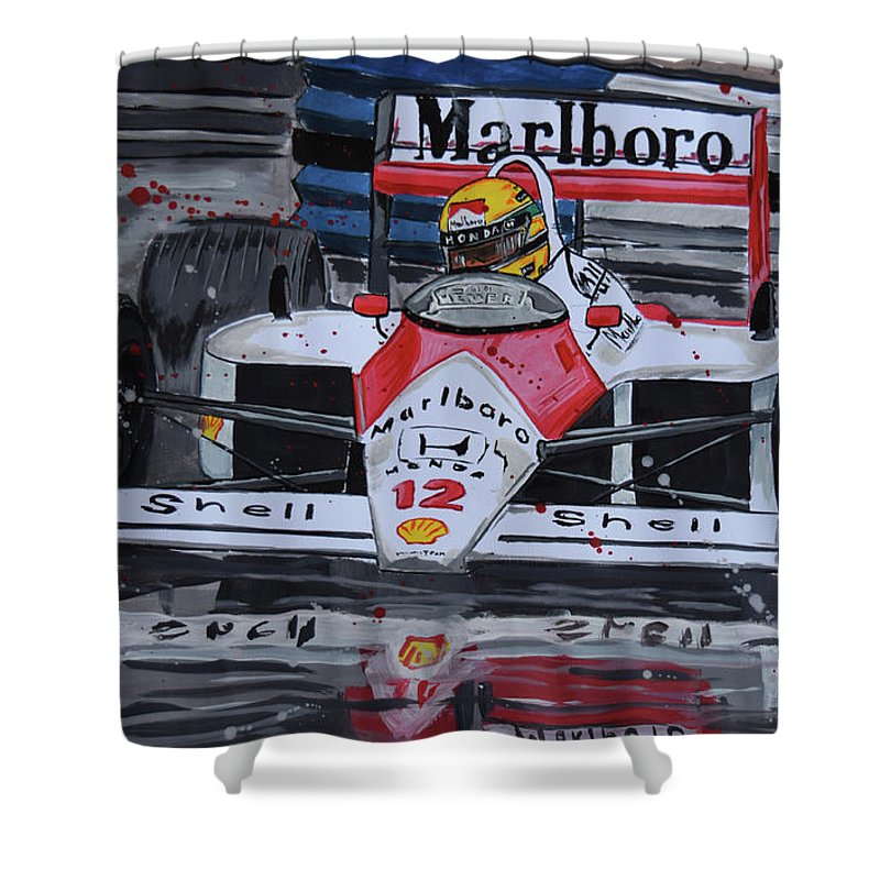 ayrton senna mclaren honda shower curtain for salevalentin domovic