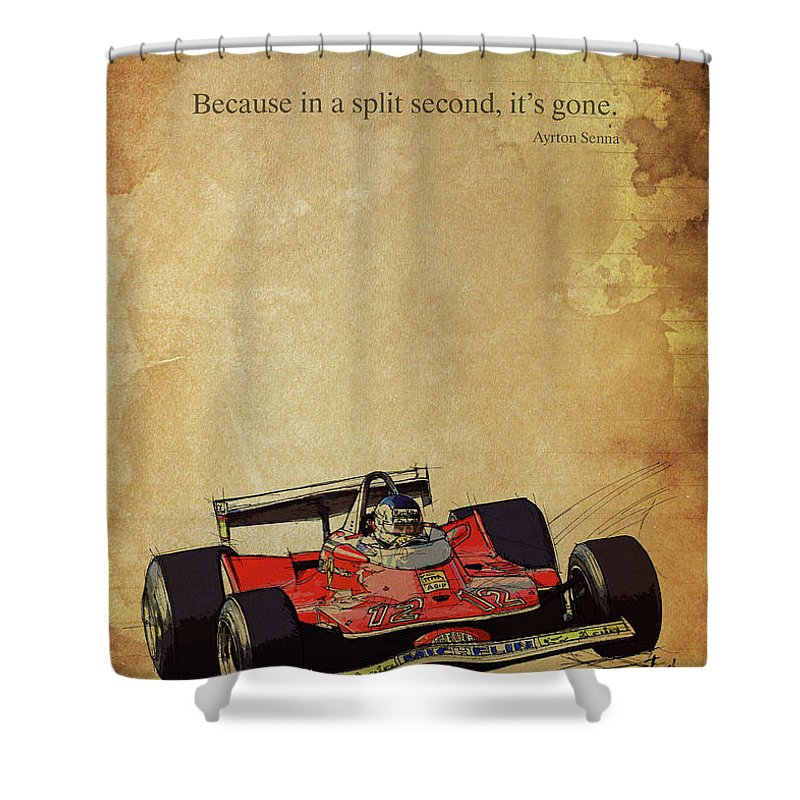 Ayrton Senna Quote Ferrari F1 Race Car Red Racing Shower Curtain For Sale By Drawspots Illustrations