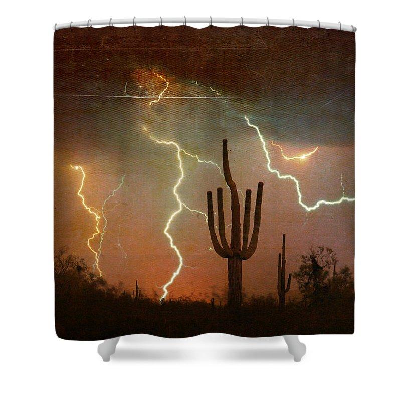 Arizona Shower Curtain featuring the photograph Az Saguaro Lightning Storm by James BO Insogna