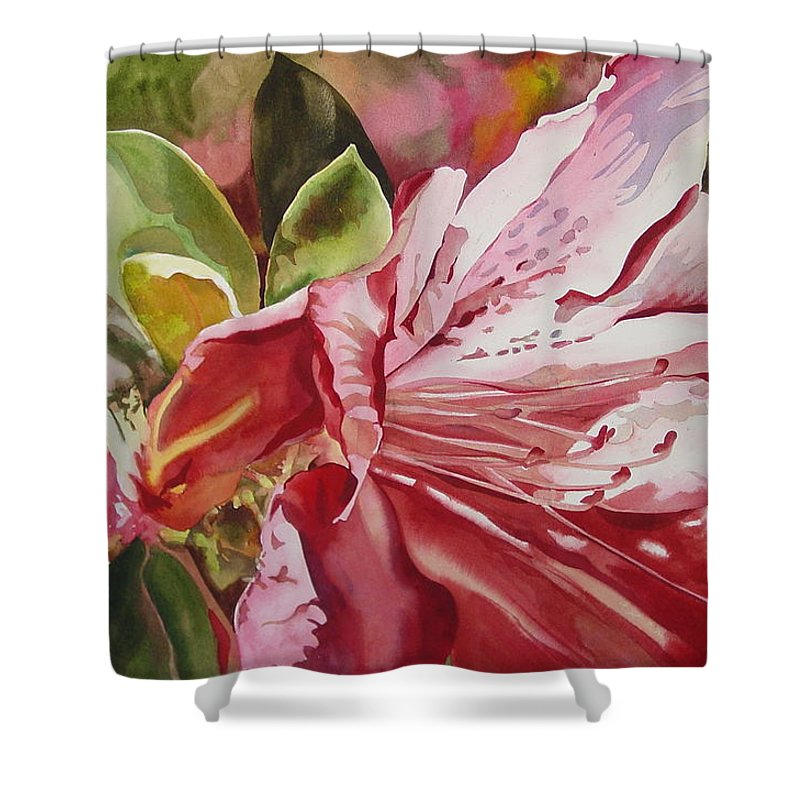 Watercolor Shower Curtain featuring the painting Azalea by Marlene Gremillion