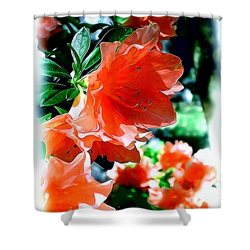 Fine Art Shower Curtain featuring the painting Azaleas In The Spring by Patricia Griffin Brett