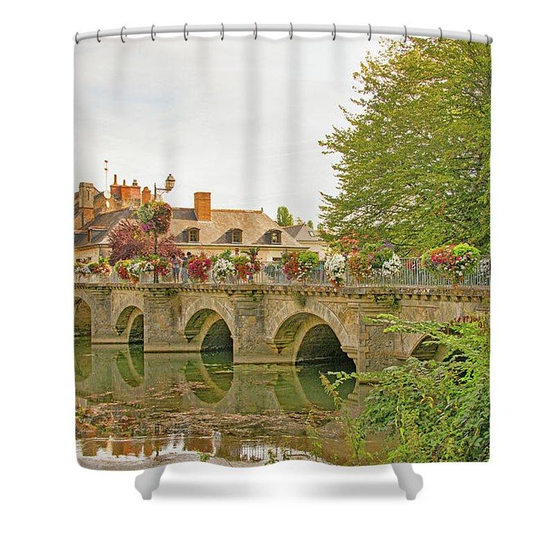 Azay Le Rideau Bridge Shower Curtain featuring the photograph Azay Le Rideau Bridge, Boys Fishing by Curt Rush