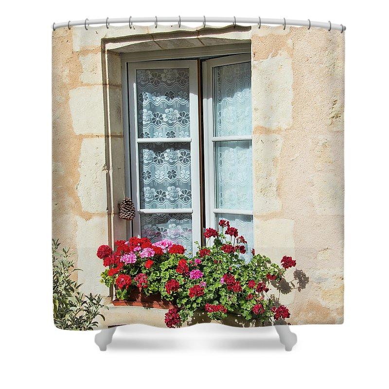 Azay Le Rideau Bridge Shower Curtain featuring the photograph Azay Le Rideau Bridge, Window, Lace by Curt Rush