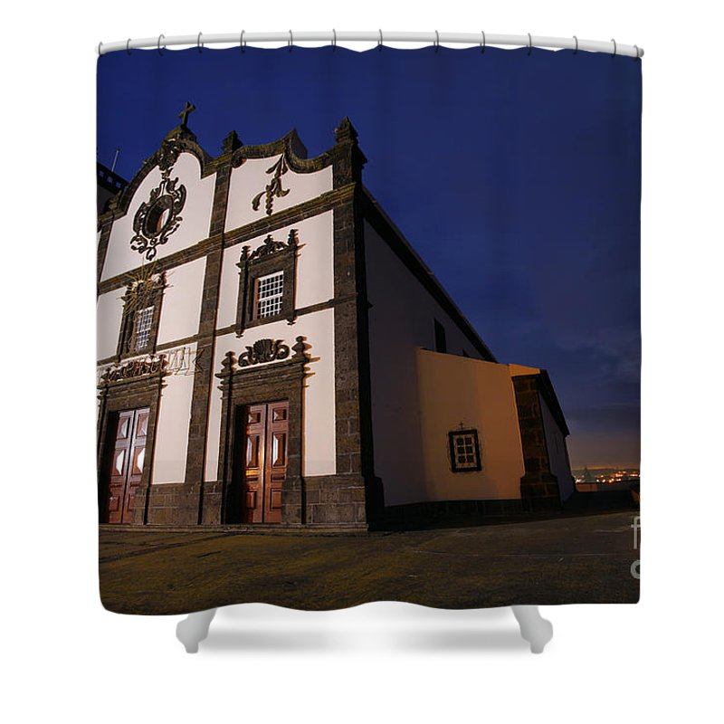 Catholic Shower Curtain featuring the photograph Azorean Church At Night by Gaspar Avila