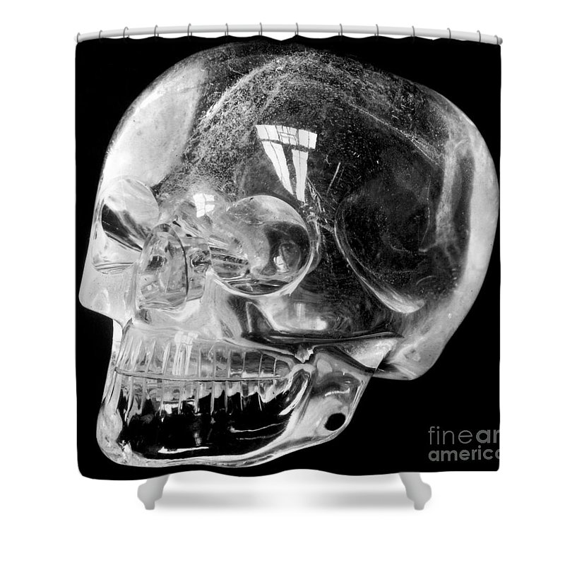 15th Century Shower Curtain featuring the photograph Aztec Rock Crystal Skull by Granger