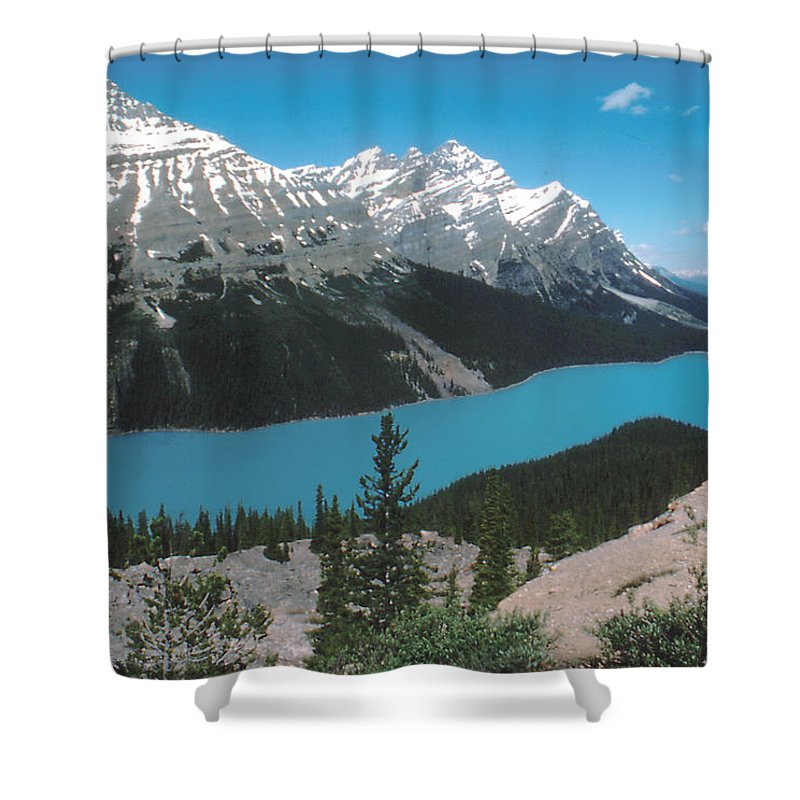 Canada Shower Curtain featuring the photograph Azure Alberta by Ron Swonger