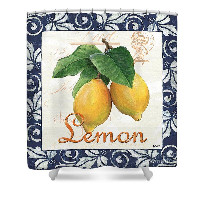 Lemon Shower Curtain featuring the painting Azure Lemon 1 by Debbie DeWitt
