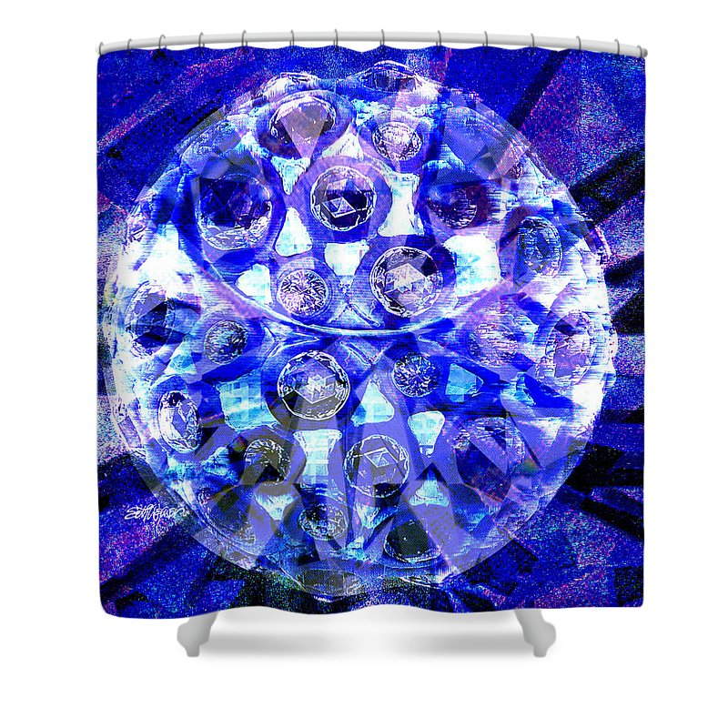 Abstract Shower Curtain featuring the digital art Azure Orb Of Midas by Seth Weaver