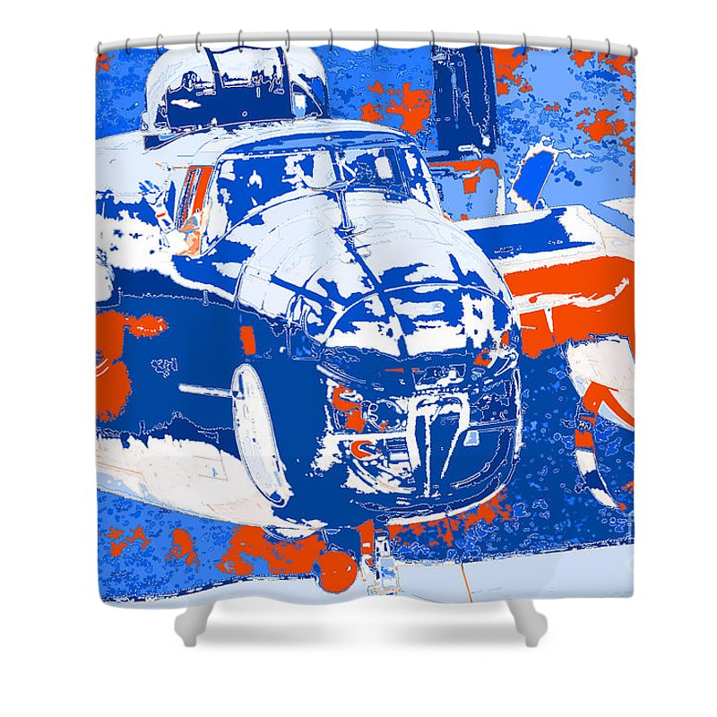 B-25 Blue Red Shower Curtain featuring the digital art B-25 Blue Red by Chris Taggart