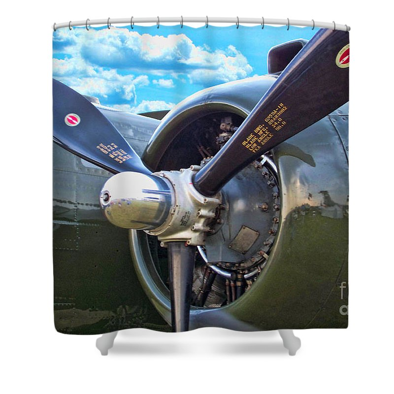 North American B-25 Mitchell Shower Curtain featuring the photograph B-25 Engine by Tommy Anderson