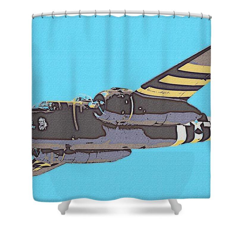 Wwii Shower Curtain featuring the digital art B-25 Mitchell by Kevin Sherf