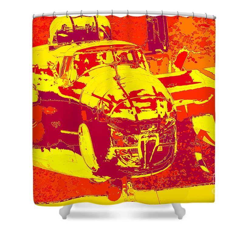 B-25 Red Yellow Shower Curtain featuring the digital art B-25 Red Yellow by Chris Taggart