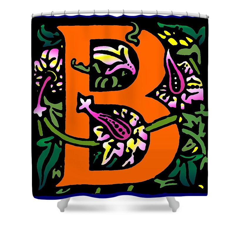 Alphabet Shower Curtain featuring the digital art B In Orange by Kathleen Sepulveda