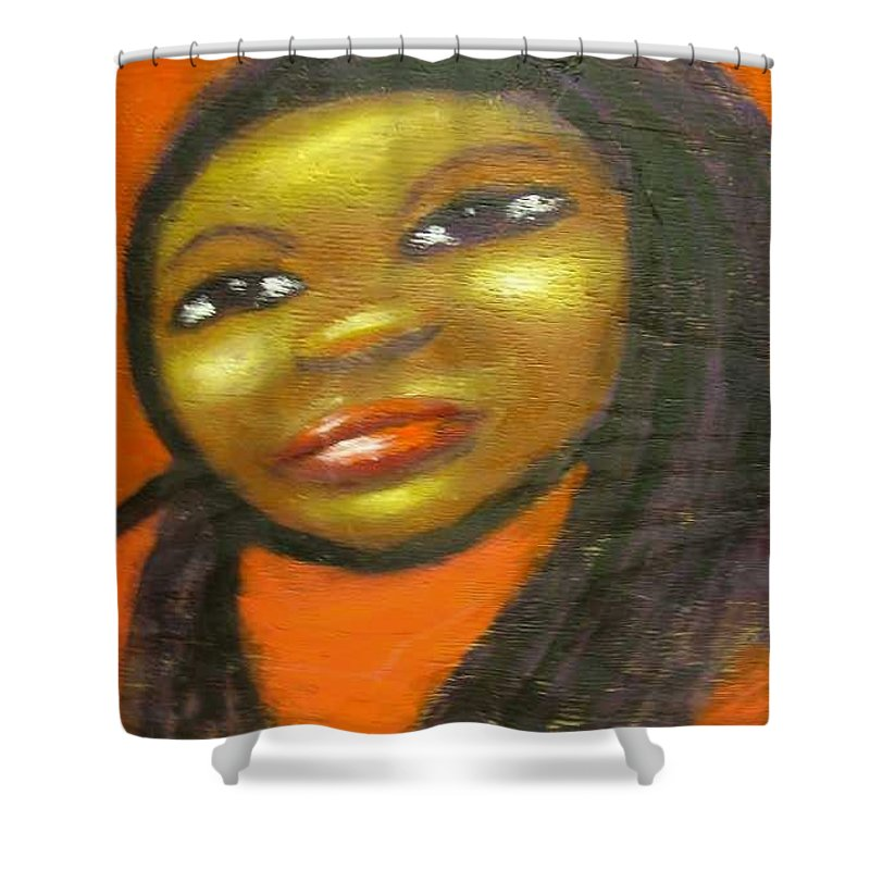 Lady In A Red Dress Shower Curtain featuring the painting B by Jan Gilmore