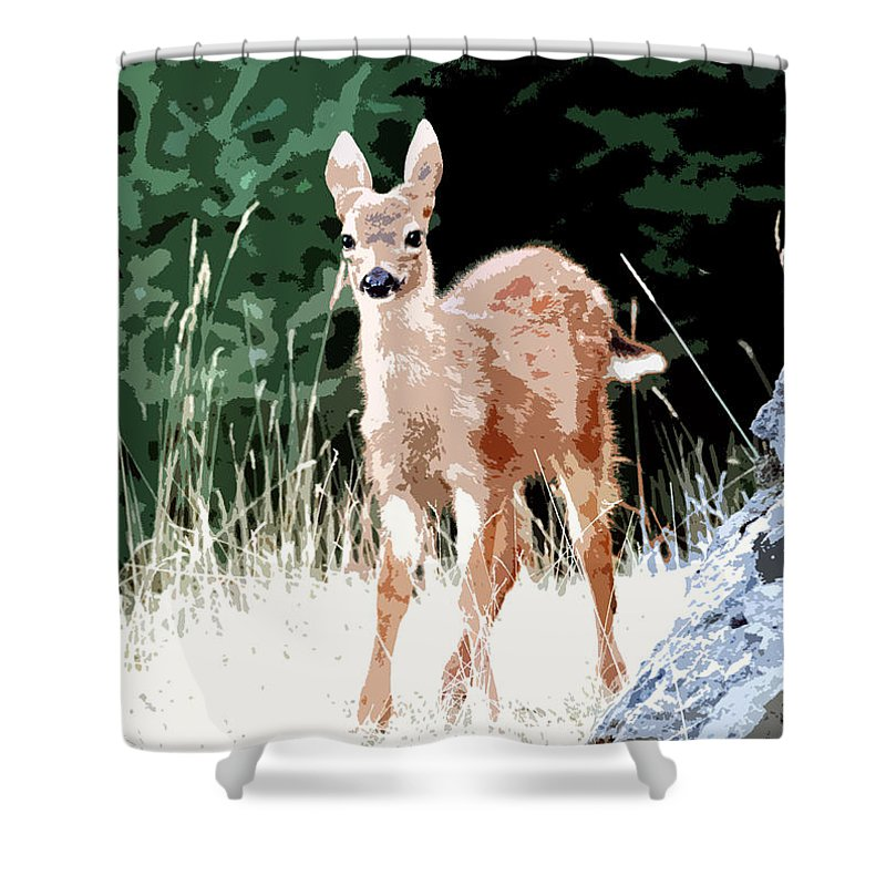 Dear Shower Curtain featuring the painting Babe In The Woods by David Lee Thompson