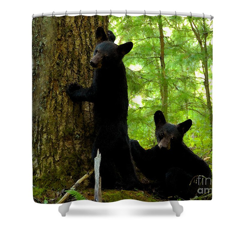 Art Shower Curtain featuring the painting Babes In The Wood by David Lee Thompson