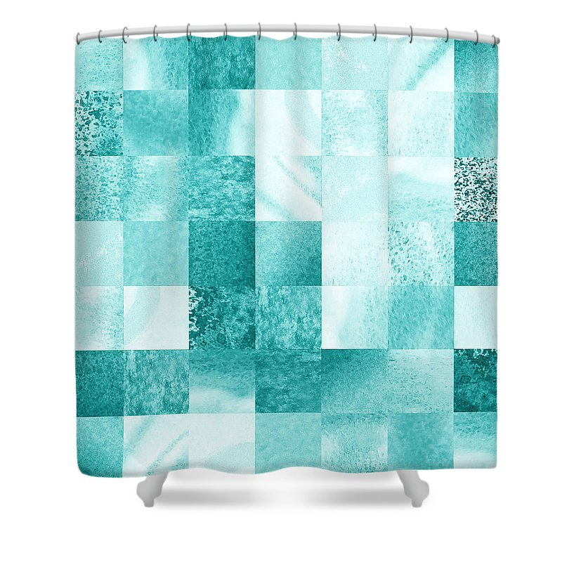 Blue Shower Curtain Featuring The Painting Baby Marble Quilt IIi By Irina Sztukowski