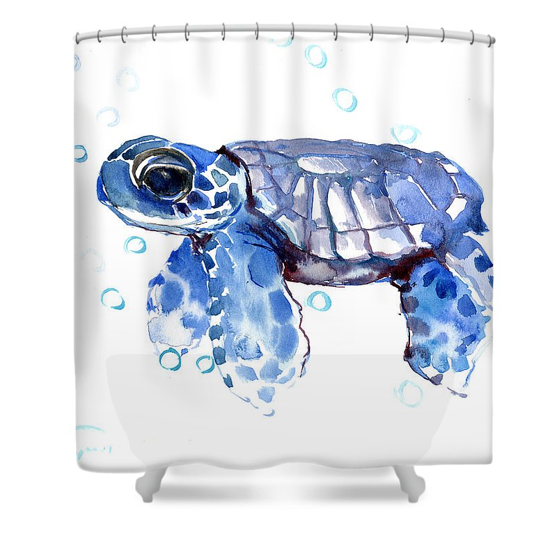 Baby Blue Sea Turtle Shower Curtain For Sale By Suren Nersisyan