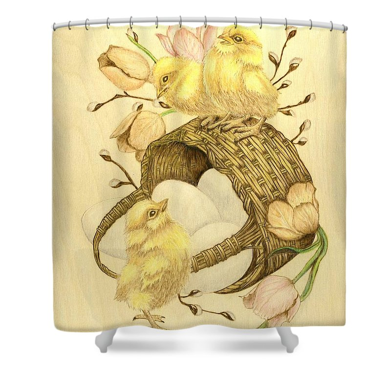 Chicks Shower Curtain featuring the pyrography Baby Chicks by Danette Smith