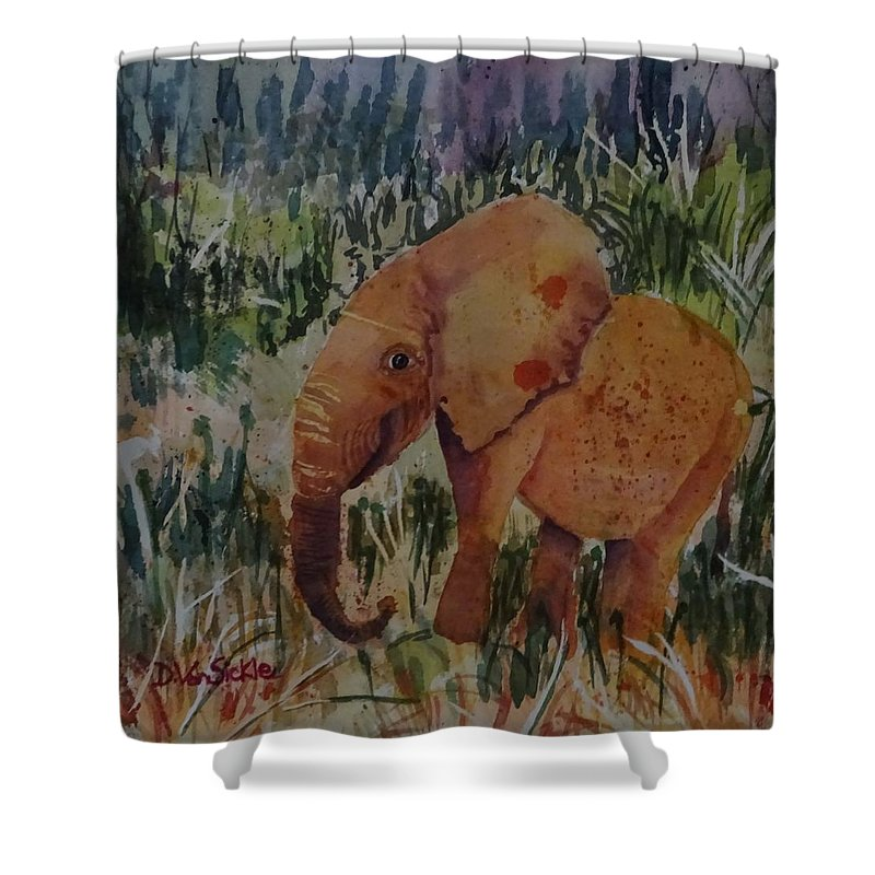 Elephants Shower Curtain featuring the painting Baby Elly by Darlene Van Sickle