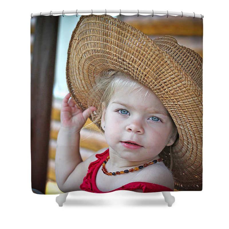 Accessories Shower Curtain featuring the photograph Baby Girl Wearing Straw Hat by Zoltan Albertini