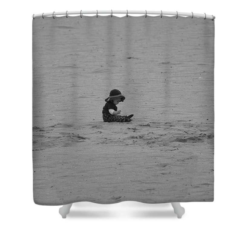 Black And White Shower Curtain featuring the photograph Baby In The Sand by Rob Hans